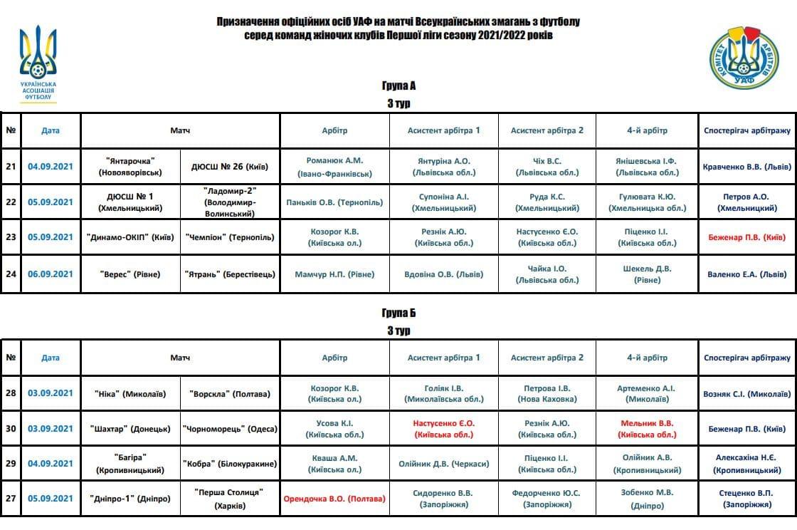 Перша ліга 21-22 Анонс 3 туру + призначення арбітрів